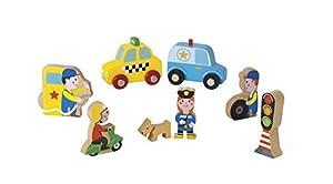 Janod Mini Story set de Figuras de madera, Ciudad (J08512)