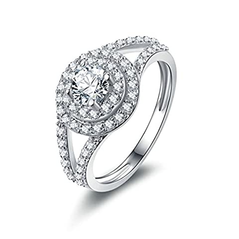 AMDXD Jewelry Sterling Silver Women Promise Customizable Rings Big Round CZ Inlaid Size R