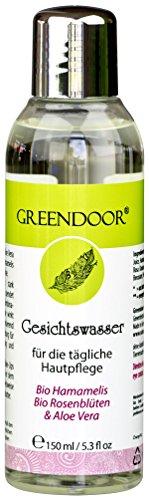 Greendoor natürliches Gesichtswasser mit BIO Hamamelis, BIO Rosenblüte und Aloe Vera Saft, 150ml,...