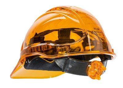 Portwest Pv64orr Série Pv64 Peak View à cliquet Translucide rigide casque  de chapeau, Regular,