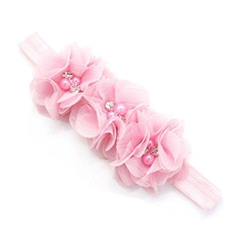 erthome Stirnband, Baby Mädchen Bowknot Haarband Set 3Pcs Kinder elastisches Blumen Stirnband Haarband (Chiffon Blumen Pink)