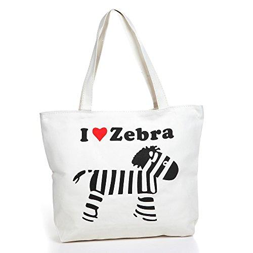 London Boutique , Damen Tote-Tasche Elfenbein gebrochenes weiß Large zebra