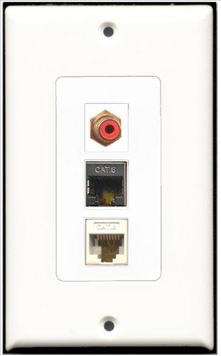 RiteAV–1Port RCA rot und 1Port geschirmt, Cat. 6Ethernet 1Port Cat6Ethernet White Decora Wall Plate Decora