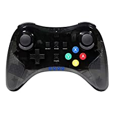 Jevogh Wii U Controller, GR72 Wireless Controller Gamepad Joypad Remote for Nintendo Wii U Pro with USB Cable - Transparent Black (Third-party made)