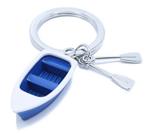 Schlüsselanhänger, Boot, Paddelboot, Blaues Weißes, Boot Mit Chrom Paddeln
