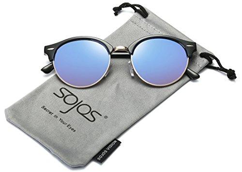 SojoS Classici Unisex in Metallo e Plastica di Combinazione Cornice Rotonda con Gradiente di Colore Degli Occhiali da Sole a Specchio Lens SJ2031 Con Nero Telaio/Blu Lente