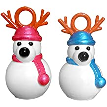 Fancy Interio Pair of Reindeer Hanging Ornaments (8 cm, 7.5 cm Polyester, Multicolor, Pack of 1)