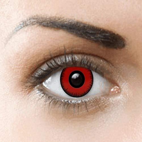 Kostüm Von Auge Sauron - PHANTASY Eyes® Farbige Kontaktlinsen, Ohne Stärke (RED VAMPIRE) weiß zombie/Dämon Cosplay perfekt zum Halloween und Karneval, Jahres Linsen, 1 Paar crazy fun Contact linsen + Kontaktlinsenbelälter!