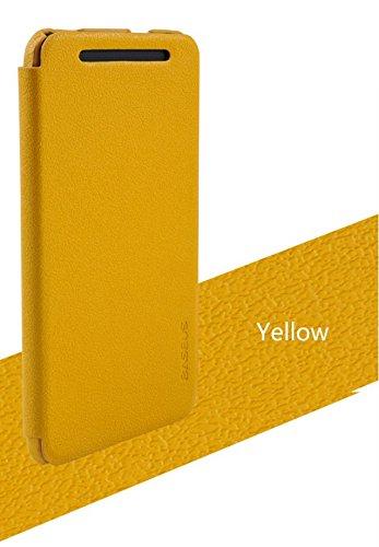BASEUS Grace For HTC One M7 801E Premium Leather Flip Cover - YELLOW