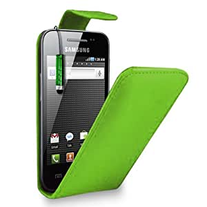 SAMSUNG GALAXY ACE S5830 - GREEN LEATHER FLIP CASE COVER POUCH + FREE SCREEN PROTECTOR & MINI TOUCH STYLUS PEN FROM GB ONLINE SALES