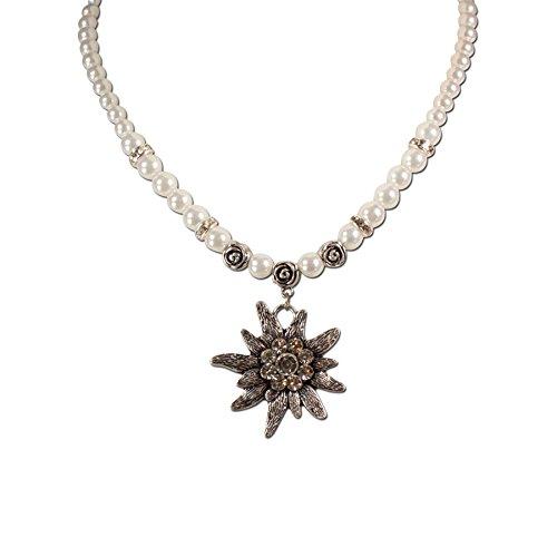 Trachten Perlen Schmuck (Trachtenschmuck Trachtenkette Perlen & Strass-Edelweiß (cremeweiß) * Damen Dirndlkette, Perlenkette)