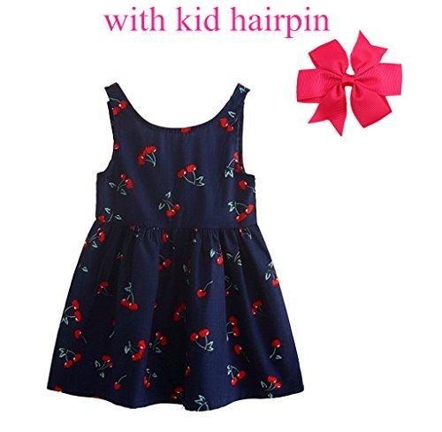 OPUSS Mädchen Sommerkleider und Haarnadel Mädchen ärmelloses Muster Kleid - viele Farben und Größen für Ihre Wahl