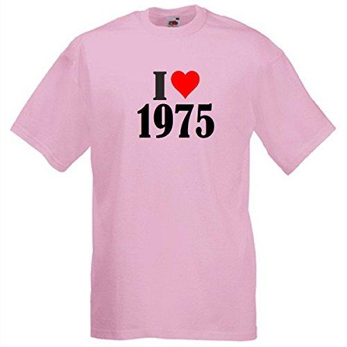 """T-Shirt """"I Love 1975"""" für Damen Herren und Kinder in Pink Pink"""