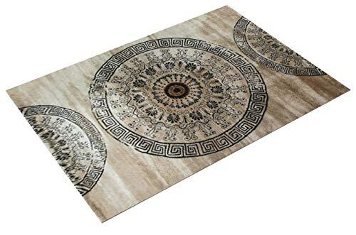 Paco Home Tapis Classique à Motifs Ornements Circulaires Chiné Moucheté Marron Beige Noir, Dimension:160x230 cm