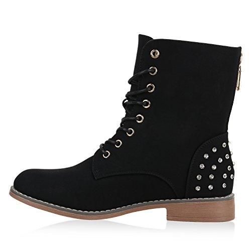 Damen Stiefeletten Boots Schnürstiefeletten Zipper Strass Schuhe Schwarz
