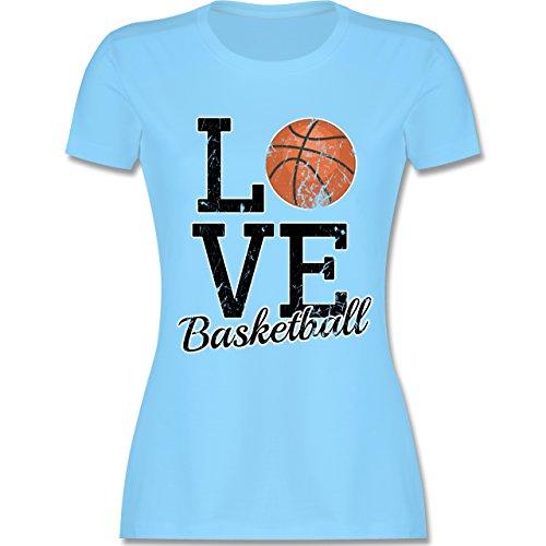 Basketball - Love Basketball - M - Hellblau - L191 - Damen Tshirt und Frauen T-Shirt