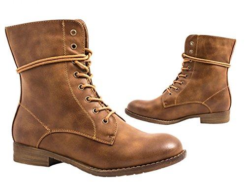 Femme Bottes Bottines pour femme Talon Bloc Aspect Cuir/rivets à lacets Biker Boots Worker Taille 36–418511 Camel New York