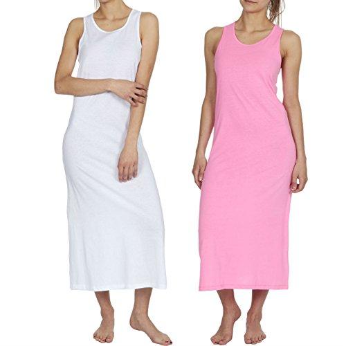 B&C Womens Long Sleeveless Maxi Dress White/Pink Medium-Large