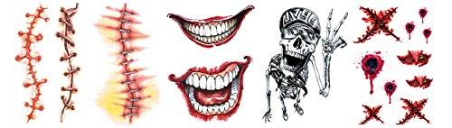Vampir Sarg Kostüm (AMDXD Halloween Kostüm Tattoos Aufkleber Halloween Narben Groß Mund Skelett Vampir Gebisse Halloween Make up)