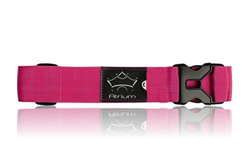 Koffergurt Atrium / extra stabiles Kofferband in schönen, auffälligen Farben / Gepäckband mit Kofferanhänger Größe: 200 cm (Pink)