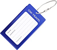 �?? INDESTRUCTIBLE Metal Luggage Tag Business Card ID Holder - Go Anywhere Tags for Suitcases Backpacks Rucksacks Baggage Briefcases - Quality Flight Accessories & Gifts by OW Travel (Dark Blue)