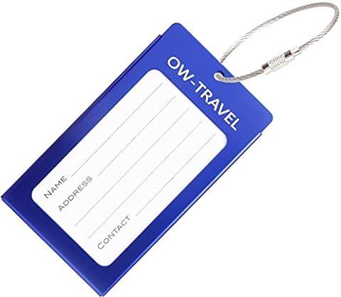 Kofferanhänger mit Namensschild Adressschild Gepäckanhänger aus Metall (Dunkelblau 1 - Pack)