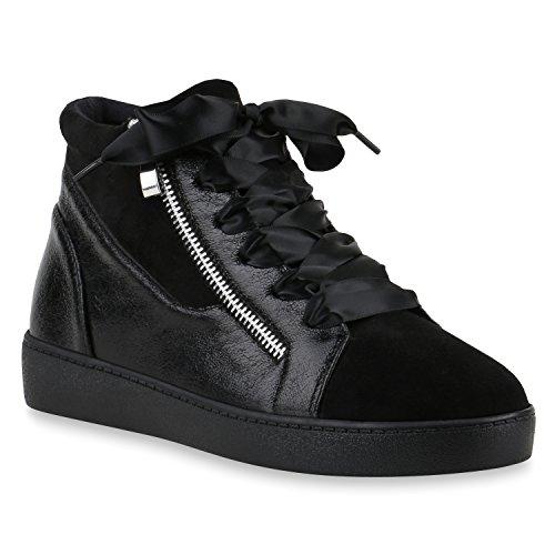 Damen Sneakers Sneaker-Wedges Zipper Satinoptik Freizeit Schuhe 145909 Schwarz Zipper 39 Flandell