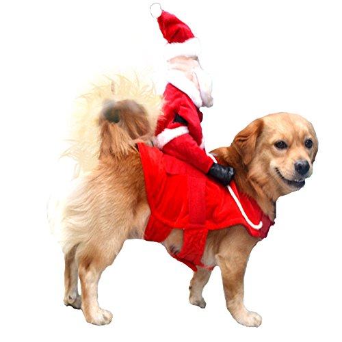 NACOCO Weihnachten Hund Costumes Santa Claus Riding auf Hunde Haustier Katze Anzug, M, Rot