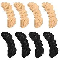 VABNEER Heel Grips Heel Cushion Shoe Pads Back of Heel Protector for Shoes Too Big (4 Pairs,Black & Beige)