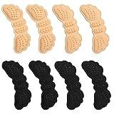 VABNEER 4 Paar Fersenschutz Fersenkissen Schuhe Fersenpolster Fersenschutz für Schuhe Schutz gegen Reibung und Blasen | für zu große Schuhe (Beige & Schwarz)