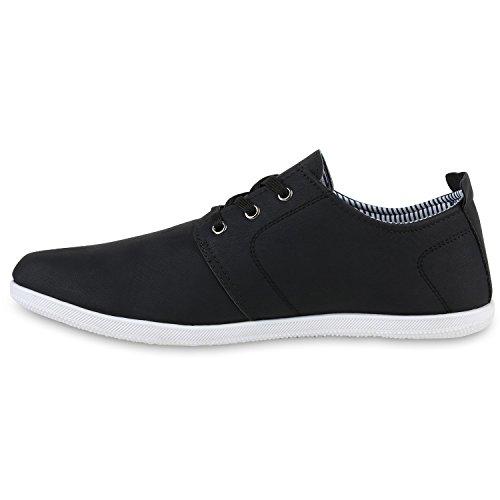 Bequeme Herren Sneakers Basic Sportschuhe Schnürer Freizeitschuhe Schwarz Schwarz