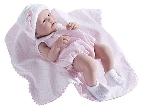 JC Toys, Realistische Mädchen-Baby-Puppe, nach anatomisch korrekten Maßen, 43 cm, Vinyl, Anzug und Decke von Berenguer Boutique entworfen