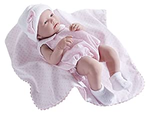 JC TOYS-Recien Nacido-Niña-43.2 cm-La Newborn con Traje Mantita 18109, Color Rosa