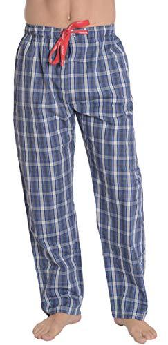 El Búho Nocturno - Herren Lange Karierte Pyjamahose   Schlafanzughose, Klassische Nachtwäsche für Herren - Größe M - Popeline, 100% Baumwolle - Blau, Dunkelgrau und Weiß