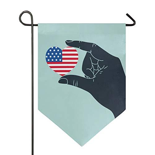 SENNSEE Hausflagge Patriotische Liebe Herz Garten Flagge 30,5 x 45,7 cm doppelseitig dekorative Hofflagge für Zuhause Dekoration Outdoor, Polyester, Multi, 28x40