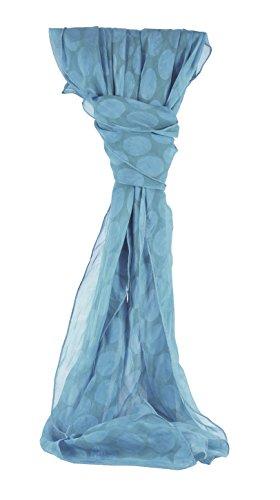 azzesso – Damen Tuch Kerstin in jeans blau ca. 105x95 cm, klassisches Vintage Halstuch 70er Jahre Stil mit blauen Punkten, Retro Style Made in Italy (Italienische Designer-jeans)