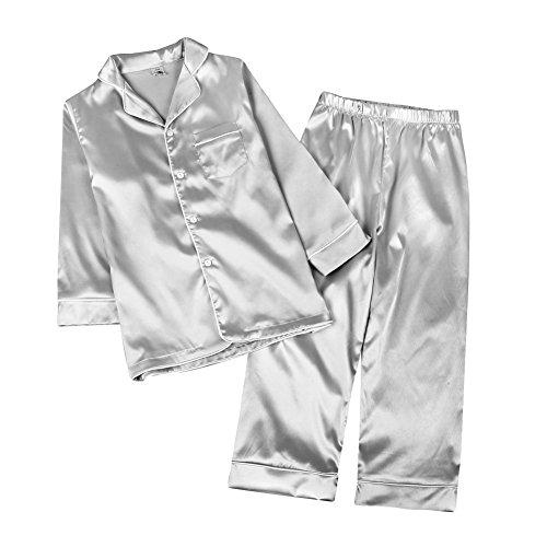 Mädchen-seiden-pyjama (Kinder Schlafanzug Junge Mädchen, Baywell Langram Seide Zweiteilige Schlafanzüge Pyjamas Set (Grau, 100/3-4T))