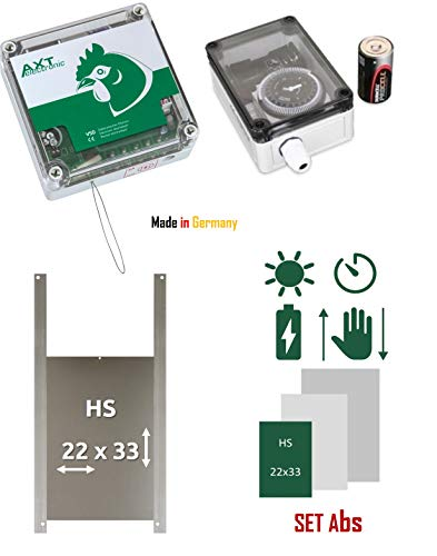 AXT-Electronic Set Abs - Pförtner VSD mit Batterien, Außenmontage, analoge Zeitschaltuhr BS2, Hühnerklappe HS 22x30