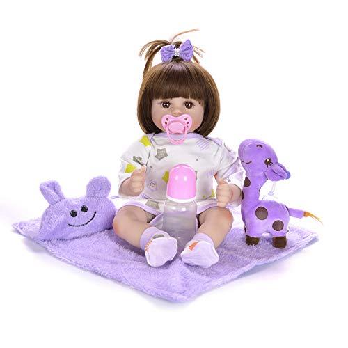 Unexceptionable-Dolls wiedergeboren Baby Puppe weichem silikon angepasst Puppe Baby Spielzeug für Kinder Geburtstagsgeschenk 3 5 Jahre altes mädchen Playmate @ Brown_Eyes_18_inch_About_48_cm - Für Fünf Jahr Alt Puppen