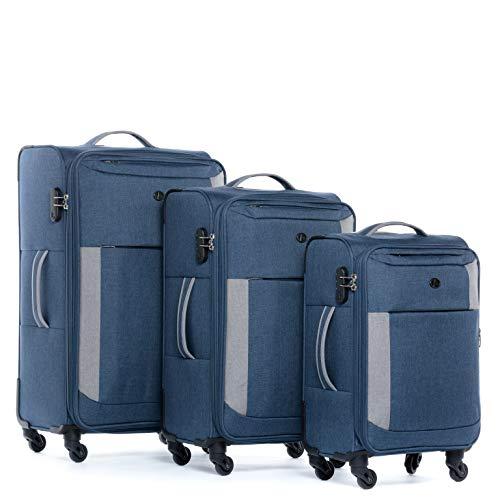 FERGÉ® Set 3 valises Voyage en Toile Extensible Saint-Tropez Ensemble de Bagages Douce Trois pc 4 Roues Trolley 4 roulettes 360 degrés Gris