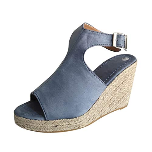 hmtitt Espadrilles for Women, Ladies Wedges Casual Fish Mouth Peep Toe Ankle Buckle Strappy Weaving Bottom Roman Shoes Sandals