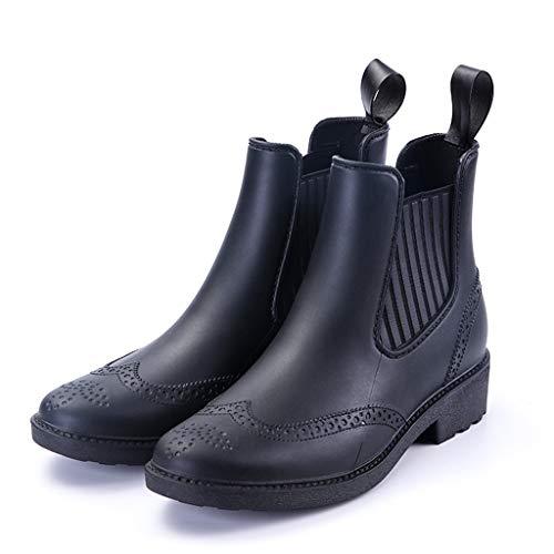 Abvenc Donna Stivaletti Chelsea con Tacco Alto, Stivali Gomma alla Caviglia in Pelle Bassi Rain Boots Flat Antiscivolo Impermeabile per All'aperto (Nero, EU:35.5)