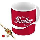Aart Store Best Brother Ever Rakhi Gift Set Of Mug 350 Ml,Roli, Chawal & Greeting Card