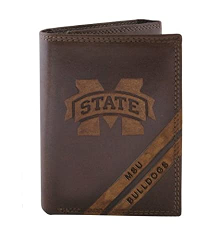 NCAA Mississippi State Bulldogs Zep-Pro Pull-Up Leather Trifold Embossed Wallet, Brown by Zeppelin Products, Inc.