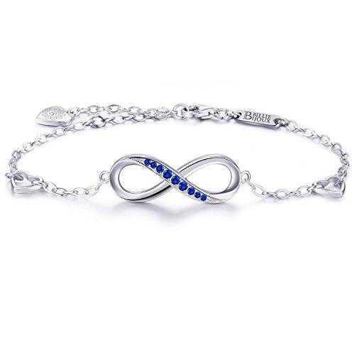 925 Argent fin Bracelet infini - Billie Bijoux damour sans fin Symbole Bracelet réglable avec charme pour Femme pour la fête des mères (bleu)