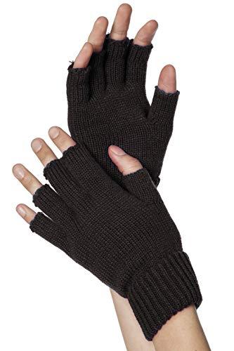Strick-Handschuhe, fingerlos, Schwarz