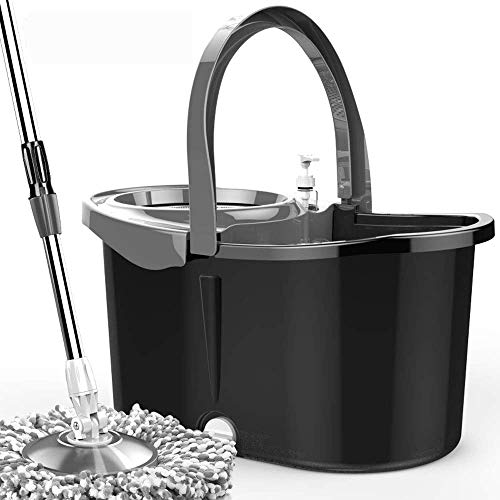 oppelantrieb rotierende automatische Dehydration frei Handwäsche Haushaltsmop Drehen Sie den Mop (Farbe: Schwarz Rot, Größe: B) ()