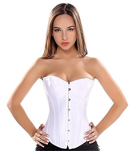 Bustino fiori overbust corsetto donna modellante burlesque sposa elegante stringivita top bianca l