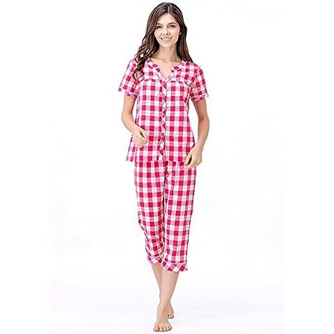Estate camicia da notte/Plaid breve mutanda manica/ tuta di cotone traspirante/Pigiama/ giacca pantaloni tuta