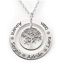 Colgante dos aros de plata con árbol de la vida
